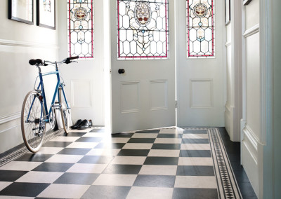 Amtico Signature Mirabelle Creme and Slate Noire in Checker
