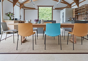 smooth wooden table with coloured share