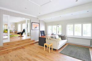 living room with floor vinyl